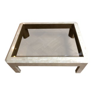 Maitland Smith Tessellated Stone Glass & Brass Coffee Table