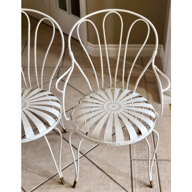 White 1930s Vintage French Art Deco Francois Carre White and Gold Sunburst Garden Chairs - Set of 3 For Sale - Image 8 of 10