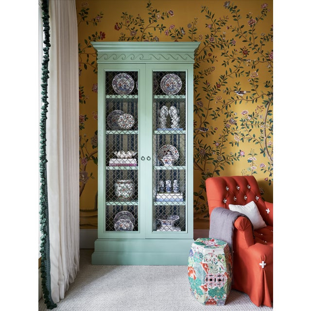 Custom designed bookcase for the 2020 Kips Bay Showhouse. This Bookcase is Painted green with a Farrow and Ball blue and...