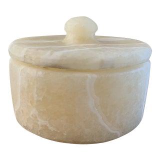 Ivory Craved Alabaster Lidded Box For Sale
