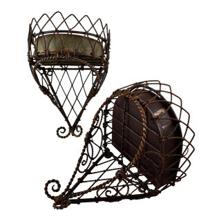 19th-C French Wire Hanging Plant Holder W/Tin Liner For Sale