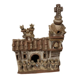 Vintage 1940s Mexican Clay Church Steeple Village With People Sculpture For Sale