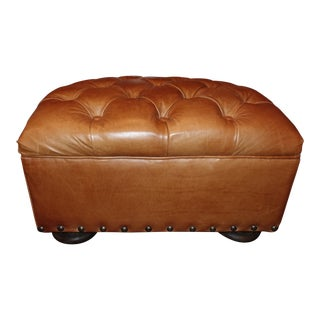 Restoration Hardware Churchill Leather Ottoman With Nailheads For Sale