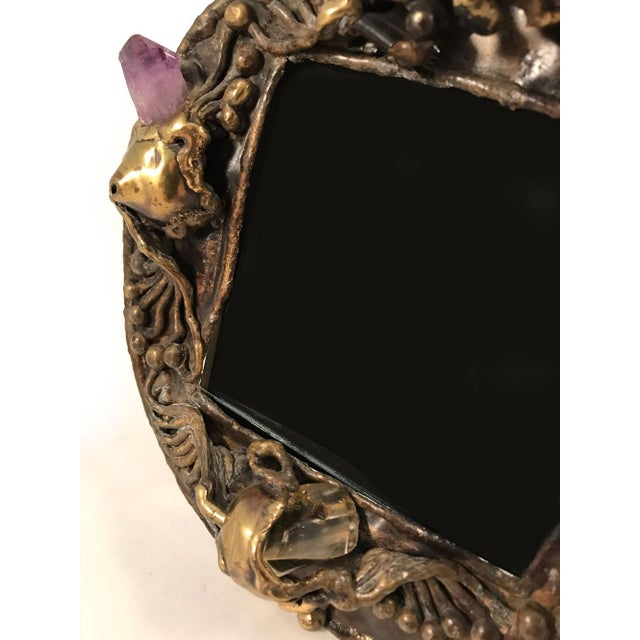 1970s 1970s Brutalist Brass Artisan-Made Picture Frame For Sale - Image 5 of 8