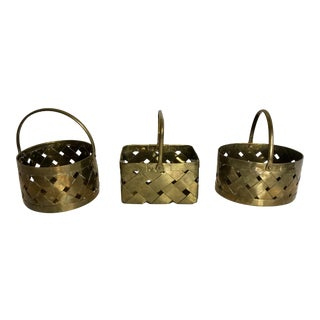 Mid-Century Modern Woven Brass Baskets - Set of 3 For Sale