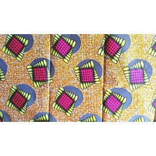 1970s Boho Cic Orange Fuchsia African Print Fabric - 6 Yards For Sale