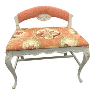 Vintage Upholstered Vanity Bench For Sale