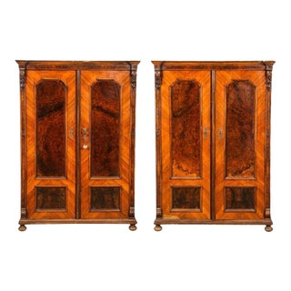 Diminutive Napoleon III Burl Armoires - A Pair For Sale
