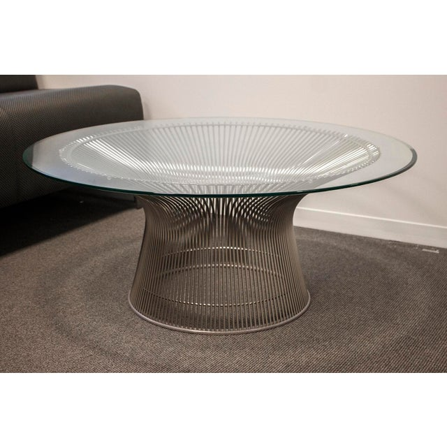 American Classical Knoll Warren Platner Glass Side Table For Sale - Image 3 of 3