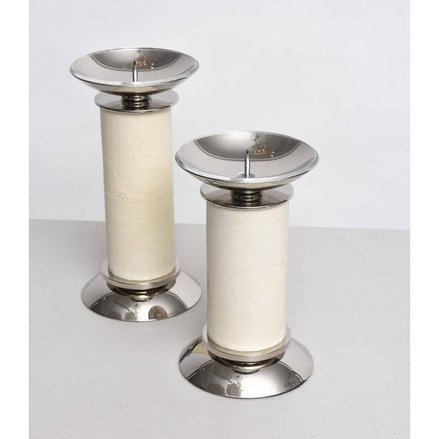 Karl Springer Candlesticks Ivory-Colored Shagreen and Nickel-Plated - 2 Pieces For Sale In West Palm - Image 6 of 8