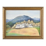 Image of 1940s Vintage Wpa Style Farmhouse in San Marcos Texas Painting For Sale