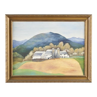 1940s Vintage Wpa Style Farmhouse in San Marcos Texas Painting For Sale