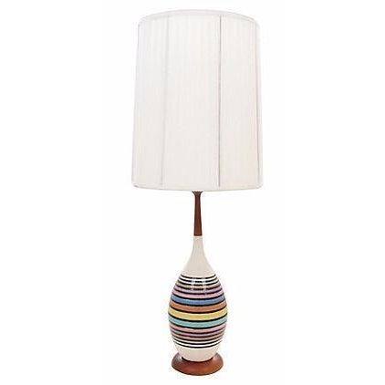 Mid-Century Multicolor Stripe Lamp - Image 1 of 9