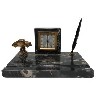 French Art Deco Black Marble Clock and Pen Desk Set For Sale
