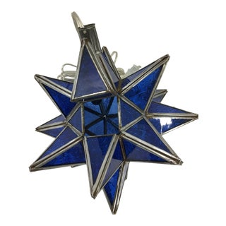 Blue Moroccan Moravian Star Light For Sale