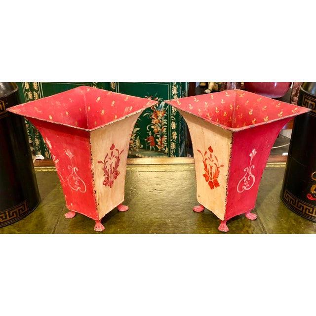 Red Mid-Century Red Tole Jardeniere Planters - a Pair For Sale - Image 8 of 8