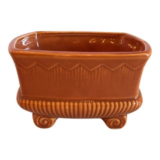 Mid-Century Modern Footed Orange Ceramic Planter For Sale