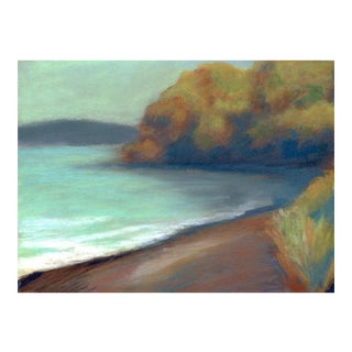 2010s Contemporary Pastel Painting of Marin County China Camp Beach