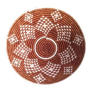 Maroon & White Rwanda Bowl African Basket For Sale
