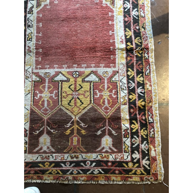 Islamic Antique Turkish Wool Prayer Rug For Sale - Image 3 of 9