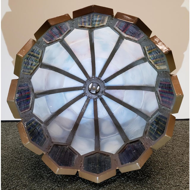 Mid 20th Century American Leaded Confetti Glass Paneled Lamp Shade For Sale In New Orleans - Image 6 of 8
