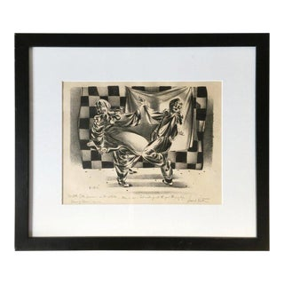 """Dancing Clowns"" Drawing by Lenard Kester For Sale"