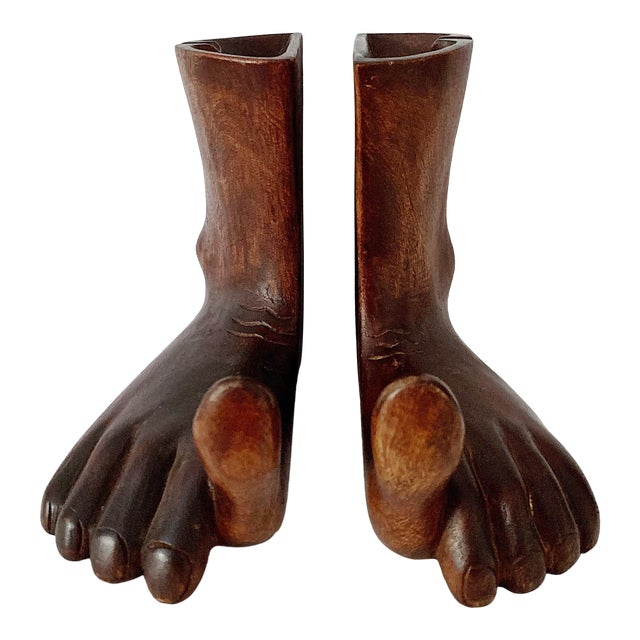 1960s Vintage Hand Carved Wooden Feet Sculpture - 2 Pieces For Sale