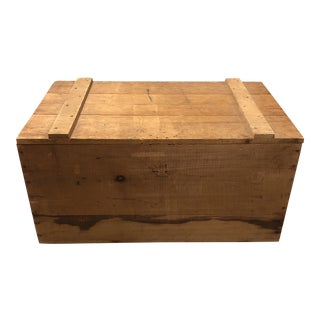 Vintage Solid Wood Chest Trunk For Sale