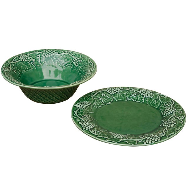 Boho Chic Bordallo Pinheiro Ceramic Serving Bowl & Plate For Sale - Image 3 of 6