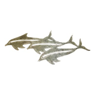 5 Ft Vintage Distressed Heavy Gauge Metal Wall Mount Dolphin Sculpture For Sale