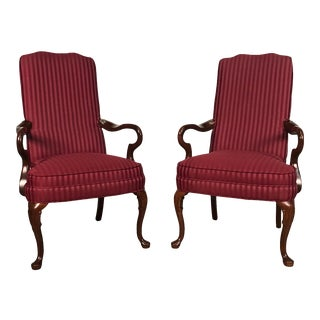Queen Anne Mahogany Accent Chair With Burgundy Stripe Fabric ~ a Pair For Sale