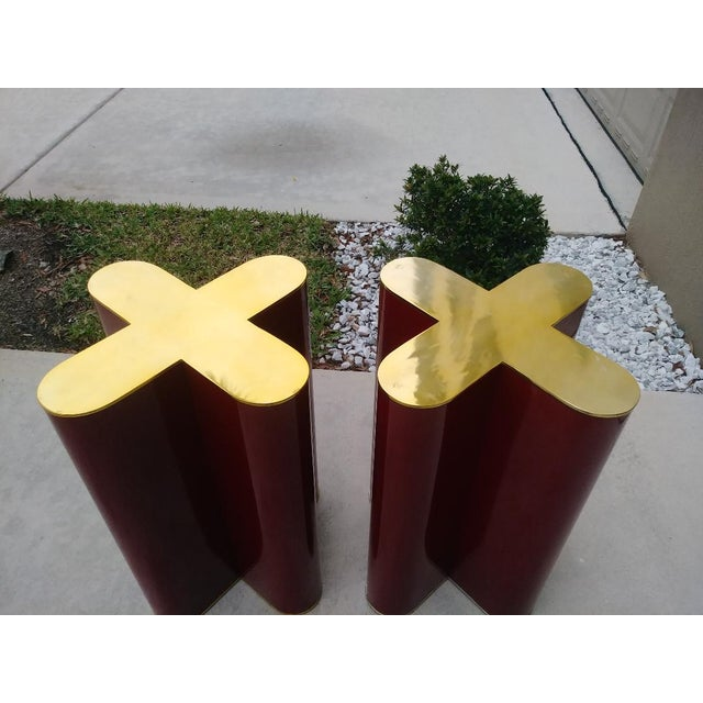 "A Pair Mid Century Modern Cherry Red and Brass ""X"" Style Table Bases Attributed to Curtis Jere For Sale - Image 10 of 11"
