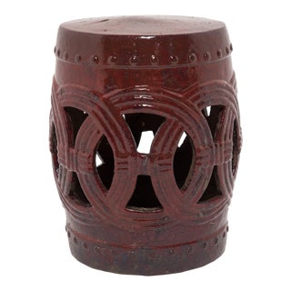 Chinese Cinnabar Glazed Garden Stool For Sale