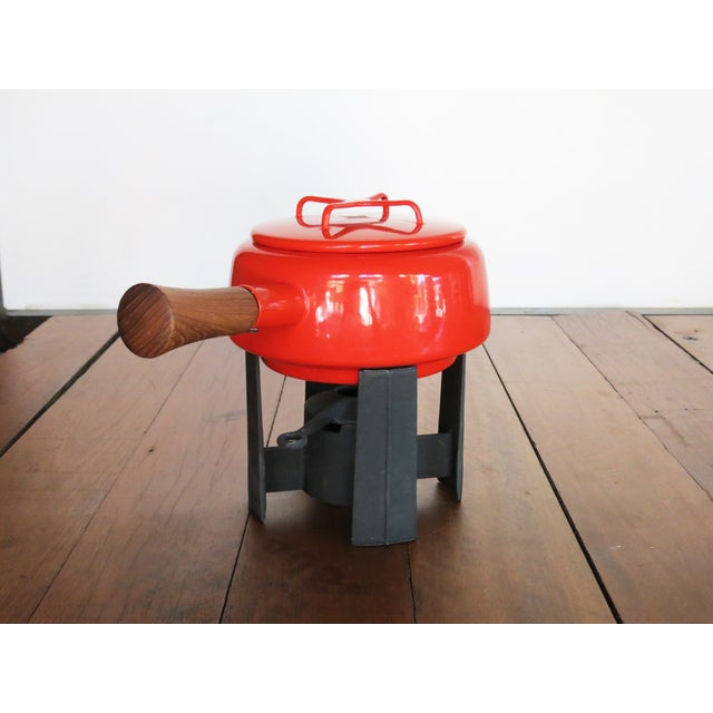 Dansk Kobenstyle Red Enamel Fondue Pot For Sale - Image 10 of 11