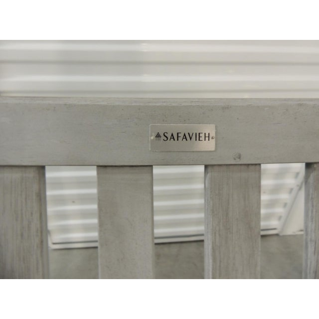 Safavieh Outdoor Safavieh Weathered Finish Settee For Sale - Image 4 of 10