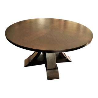 """Country Drexel Heritage 60"""" Round Alpine Dining Table With """"X"""" Base For Sale"""