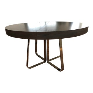 Modern Ligne Roset Ava Dining Table With Integrated Leaf Walnut Chromed Base For Sale