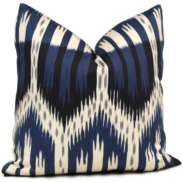 Add a pop of blue to your room with this bold blue ikat pillow cover. Part of schumacher's new ikat collection. Shades of...