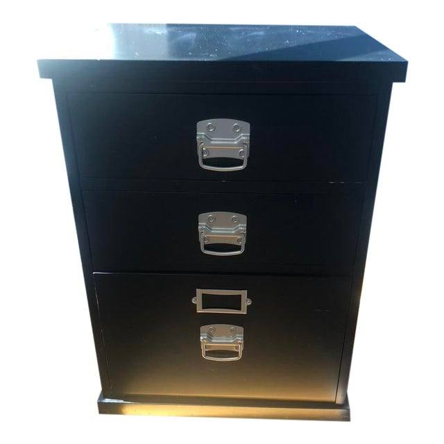 Pottery Barn Black Bedford 3-Drawer Filing Cabinet For Sale