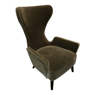 Mr. Brown Mid-Century Modern Olive Mohair Club Chair