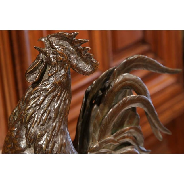 Gold Large 19th Century French Patinated Bronze Rooster Signed Auguste Cain For Sale - Image 8 of 10