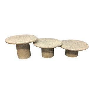 Round Stone Side Tables - Set of 3