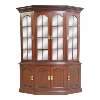 Pennsylvania House Cherry Chippendale Crystal Cabinet For Sale