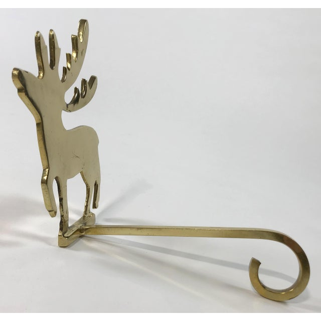 Traditional Brass Reindeer Stocking Hook For Sale - Image 3 of 4