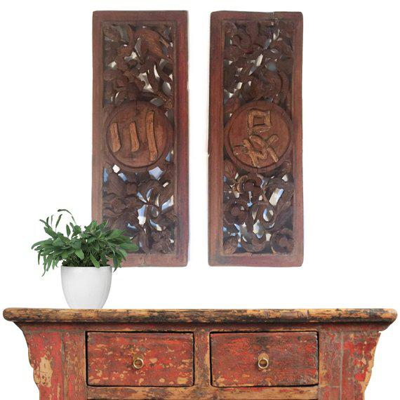 Gorgeous Mid Century Modern Wood Carved Chinese Panels, Vintage Chinese Carved Plaques, Wall Hanging Panels, Above the...