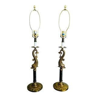 Rococo Brass Dolphin Table Lamps - a Pair For Sale