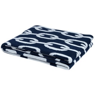 Eco Poly Links Navy & White Throw For Sale