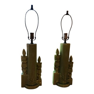 1960s Mid-Century Modern Tribal Green Lamps - a Pair For Sale