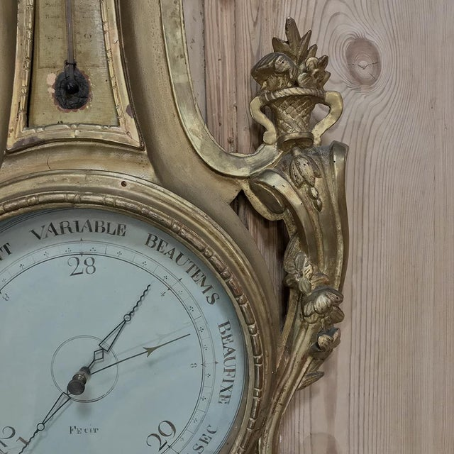 18th Century Giltwood Hand Carved Barometer - Thermometer For Sale - Image 4 of 11