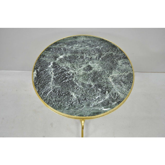 20th Century French Bronze Neoclassical Round Green Marble Top Gueridon Table For Sale - Image 4 of 13